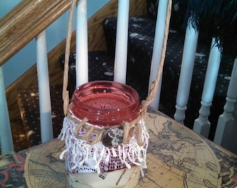 Shabby candle holder jar with button and lace