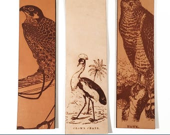 Bird Bookmarks, Falcon Bookmark, Hawk Bookmark, Crowned Crane Bookmark, Leather Bookmarks