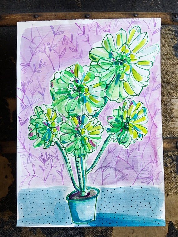 Original watercolor and ink painting on paper Doty Green Vase artwork by Paula Mills