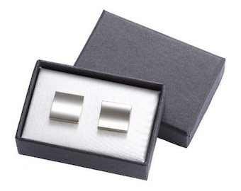 Shiny Plated Square Cufflinks- Free engraving