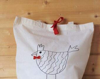 Cloth bag, illustrated bag, hen bag, reusable bag, shopping bag, cotton bag, cloth bag, mother's day, yoga bag