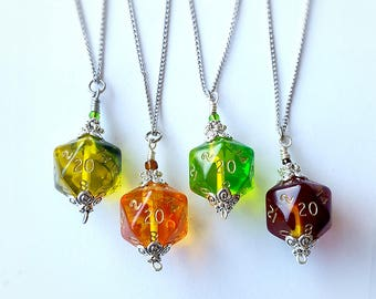 D20 Necklace, Dice Necklace, Dice Jewelry, Dungeons and Dragons pendant D&D necklace pathfinder geeky jewelry chain, gem dice