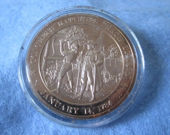 Franklin Mint Solid Bronze coin -Congress Ratifies Peace Treaty - 1784 - Add to your collection or start a new collection!