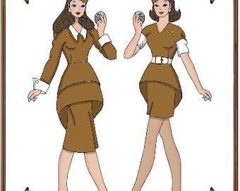 Email PDF - Silkstone Barbie Doll Clothes Pattern - Stewardess Uniform, Cap, Purse, Gloves - No. PDF-126-SB