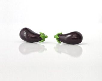Eggplant - tiny lightweight earrings