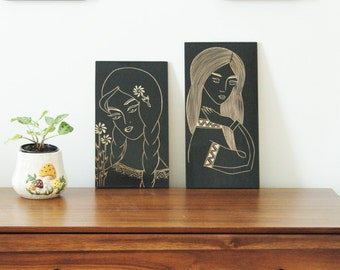 Vintage Pieces of Women Carved in Wood