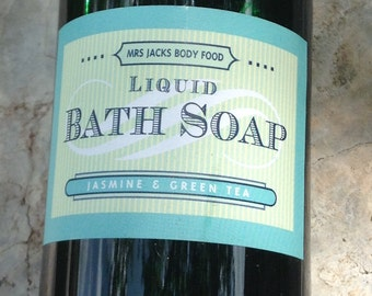 Jasmine & Green Tea, Body Wash, Bubble Bath, Bath Soak, Shampoo, Organic , All Natural, Liquid Soap, 8 oz