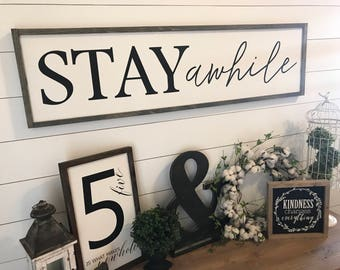 "MORE COLORS & SIZES 48x14 ""Stay Awhile"" / hand painted / wood sign / farmhouse style / rustic"