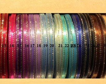 Sparkly double Lisserets TW BRAND Gold 7 MM Satin Ribbon