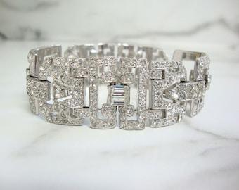 Art Deco Vintage Bracelet, High End Designer Rhinestone Cuff, Art Deco Jewelry, 1920s Antique Statement Wedding Jewelry