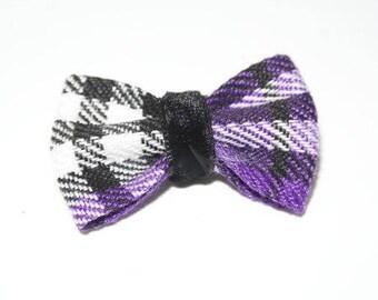 Purple black white Plaid bow