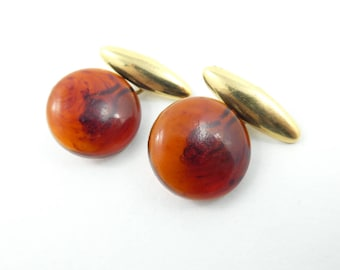 Vintage Brown Button Cuff Links, Lucite, Gold Tone, T32