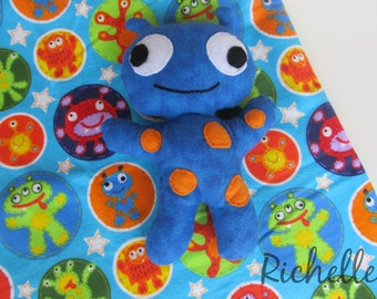 Monster Blanket and Plush Toy Gift Set, Blue Monsters Baby Infant Swaddle Blanket, Child Monster Stuffed Animal Toy
