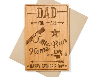 Baseball Dad Father's Day Card. Unique Gift for Dad Wood Card. Birthday Card for Dad for Him.