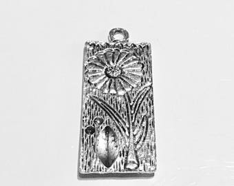 Sunflower, daisy, panel, in silver tone. x 4