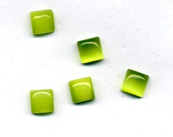 4 cabochons cat's eye square 6 x 6 mm - Green color