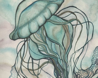 Green JELLYFISH 5 x 7 print of detailed watercolour artwork in deep rich aqua turquoise blue green colours with earth tones, sea nettle