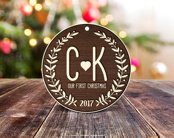 Our First Christmas Ornament Wood Christmas Ornament Personalized Ornament Engaged Christmas Ornament housewarming gift for couple 24