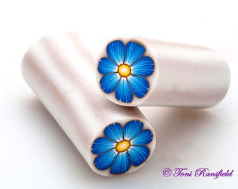 Blue Flower Polymer Clay Cane, Raw polymer Clay Cane, Millefiori Polymer Clay