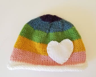 Rainbow Hand Knit Child Beanie Hat