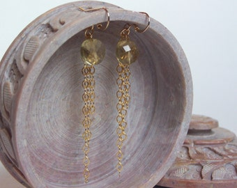 Olive Quartz Earrings, 14K Gold Filled Ear Wires and Chain
