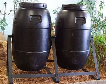Compost Tumbling Composters Double 60 Gallon Black Plastic -Strong-Durable-FREE SHIPPING