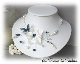 Bridal ivory and Blue Navy satin and Butterfly Katell