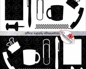 Office Supply Silhouettes: Clip Art Pack (300 dpi transparent png) Steno Pad Push Pin Paper Clip Coffee Mug Phone Clipart Black & White