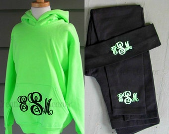 Monogram Sweatshirt, Hoodie, Girls Hoodie Sweatshirt, Girls Monogrammed Hooded Sweatshirt and Monogrammed Leggings, Girls Monogram Set