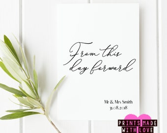 From this day forward personalised wedding day card , for the bride and groom , bride card , groom card , Mrs and Mrs , Mr and Mrs , Mr & Mr