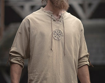 Linen man shirt with ancient viking embroidery