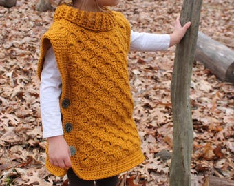 Time Traveler Tunic: Crochet Tunic Baby Toddler Child Buttoned Poncho turtleneck cowl