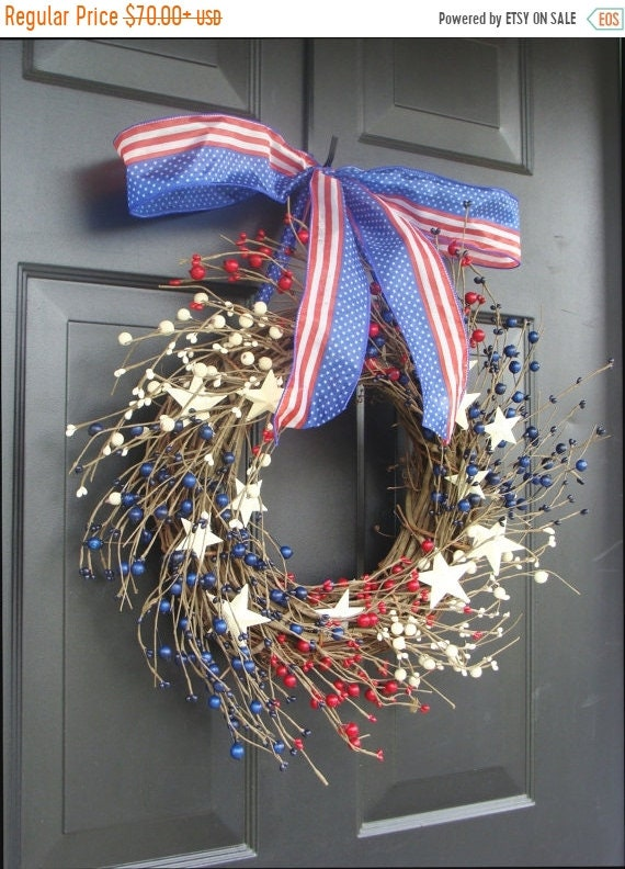 SUMMER WREATH SALE Berry Wreath, July 4th Decor, Americana, Patriotic Wreath, Americana Decor, Memorial Day Wreath, Rustic Wreath, Primitive