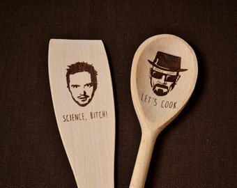 """Breaking Bad inspired """"let's cook"""" wood burned spoon and spatula set"""