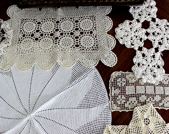 7 Assorted Crochet Doilies - Vintage Knit Doily, White and Ecru Lot 14053