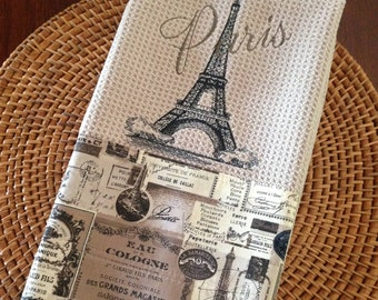 Eiffel Tower with Paris - Paris Nights D'Orsay - Microfiber Waffle Weave Kitchen Hand Towel