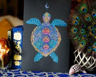 Turtle Totem Original Art, Sea Turtle Totem Art, Sea Turtle Spirit Animal art, Colourful Turtle Original Art, Boho Art, Spirit Animal Art