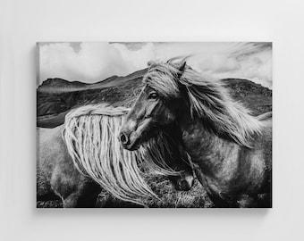 Wild Mustang Horses Wildlife Large Canvas Animal Art Print Stylish Home Decoration Wall Art Nursery Decor Living Room | IC151