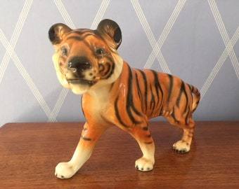 Beautiful  Art Deco TIGER CORTENDORF - 1950 -  Porzellanfabrik Julius Griesbach - 50's retro vintage animal decor figure cute face