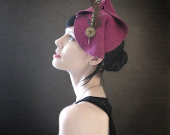 Fall Fashion Magenta Felt Fascinator With Pheasant Feathers - Diana Hat - Made to Order