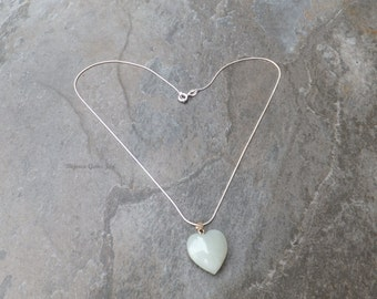 Heartful Pendant, Jade Heart, Sterling Silver