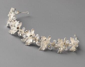 Floral Wedding Headband, Crystal Rhinestone Bridal Headpiece, Flower Wedding Headband, Bridal Headband, Silver Wedding Headband ~TI-3304