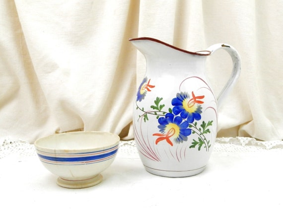 Antique 19th Century French Hand Painted and Riveted Enamelware Water Pitcher, Country Cottage Farmhouse Enamel Jug from France, Retro Decor