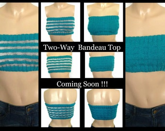 Top, Bandeau Top Two Way, Handmade Top, Knitted Bandeau Bra, Knitted Top