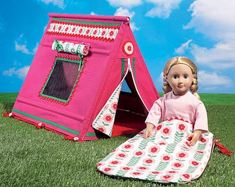 """McCall's Pattern M7268 18"""" Doll's Sleeping Bag and Tent"""