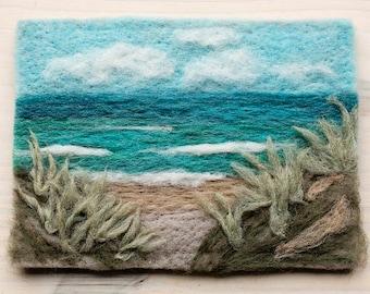 Ocean View Needle Felting Kit by Felted Sky Studio - Feltscape Wool Landscape Painting Gift DIY beach art scene