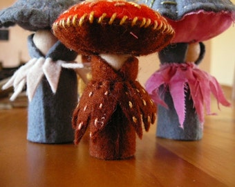 Felt Mushrooms, Waldorf Inspired, Peg Doll Fungi, Nature Table Mushrooms,  Pair of  Handmade Mushrooms