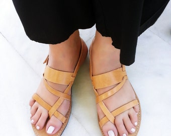 Ancient Greek Leather Sandals, Gladiator Sandals, Flat Sandals, Genuine Leather Sandals in Natural Color. Handmade in Greece.