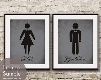 Ladies and Gentlemen - Set of 2 Art Prints  (Charcoal and Black Symbols) Bathroom art prints