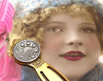 Antique BUTTON bookmark, Victorian Flower on gold. Unique present, gift, stocking stuffer.
